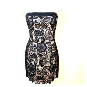 Cream and black lace strapless dress
